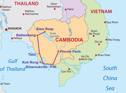 Travelbay Cambodia Tours - 15 Day Ultimate Map