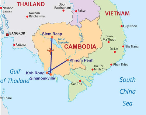 Travelbay Cambodia Tours - 8 Day Temples and beach holiday map