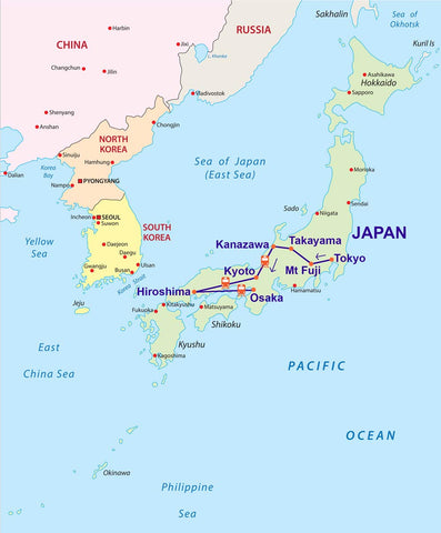 Travelbay Japan Tours - 16D Map