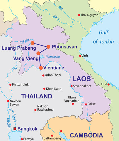 Travelbay Laos Tours - 10 Day Local Life in Laos Private Tour Map