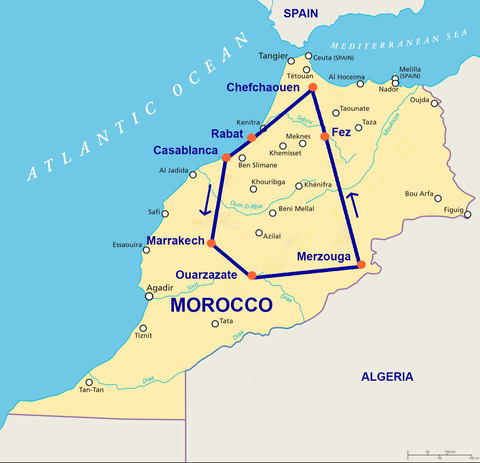 Travelbay Morocco Tours - 11 Day Map