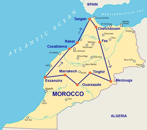 Travelbay Morocco Tours - 14 Day Map