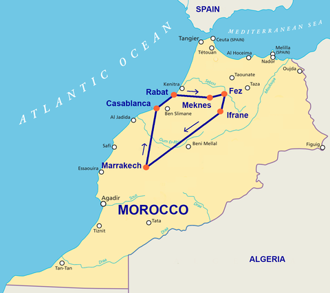 Travelbay Morocco Tours - 7 Day Map