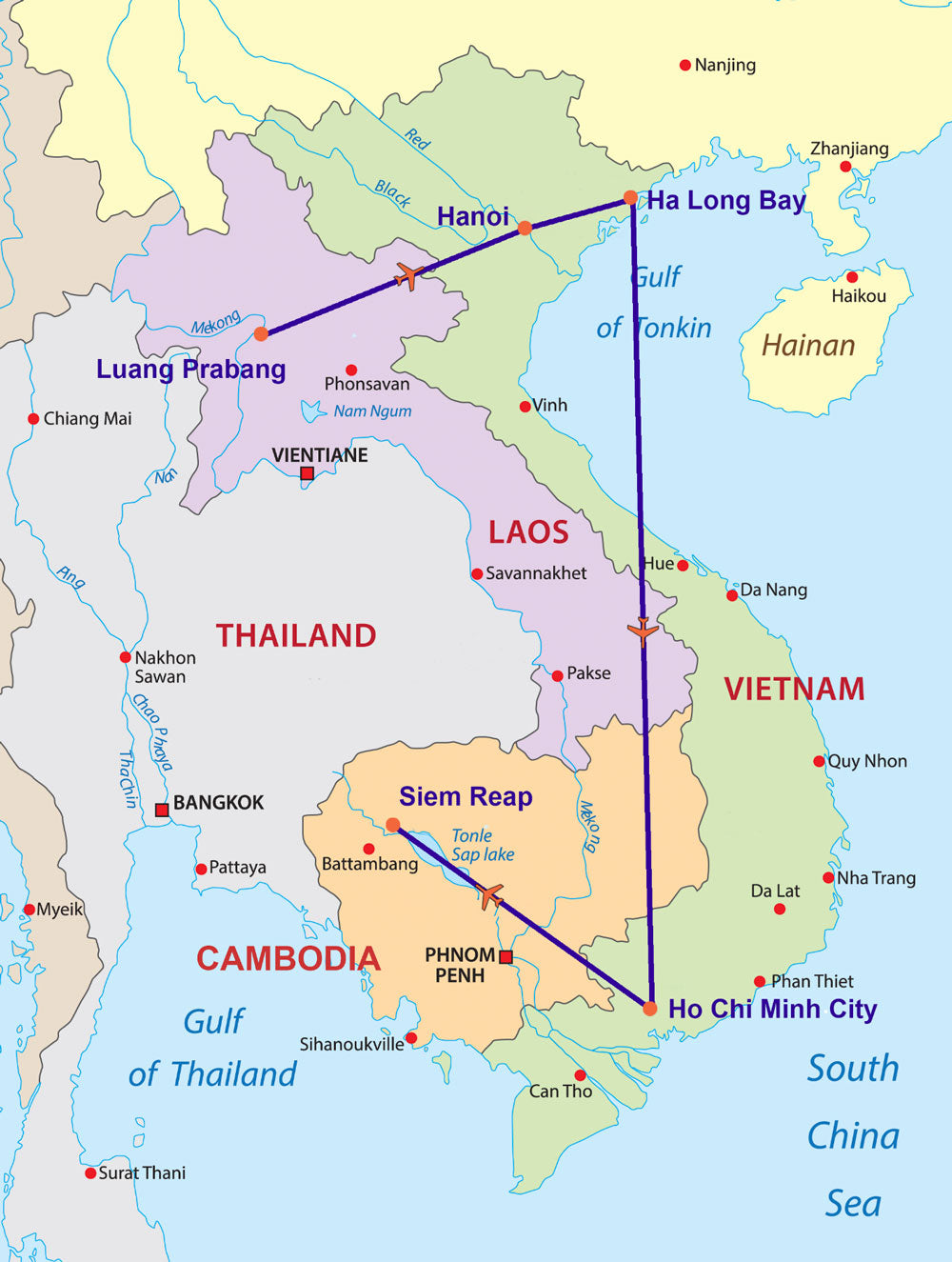 Travelbay South East Asia Tours - 13 Day Indochina Map
