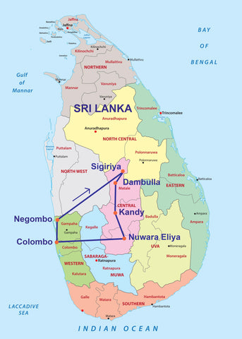 Travelbay Sri Lanka Tours - 8D Highlights Map