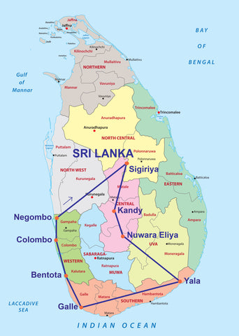 Travelbay Sri Lanka Tours 14D Map