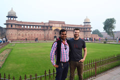 Travelbay Tailor Made Tours Reviews - Julian Lowndes with guide Attiq at Red Fort, India