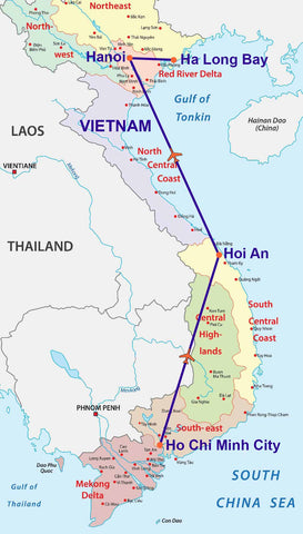 Travelbay Vietnam Tours - 10 Day Highlights Map