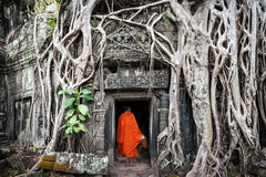 Travelbay Vietnam and Cambodia Tours - Best of Both in 13 Days - Vietnam and Cambodia Small Group Tours - Monk in Door, Angkor Wat, Siem Reap
