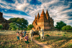 Travelbay Myanmar Tours - 10 Day Magical Myanmar Tour including 4 Night Cruise - Myanmar Private Tours - Kids Playing in Bagan, Myanmar
