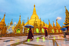 Travelbay Myanmar Tours - 8 Delightful Days in Mandalay, Bagan, Inle & Yangon - Myanmar Private Tours - Monks in Shwedagon Pagoda, Yangon