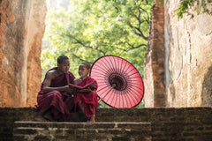 Travelbay Myanmar Tours - 12 Day Magnificence of Myanmar including Beach Break - Myanmar Private Tours - Monks on Steps, Myanmar