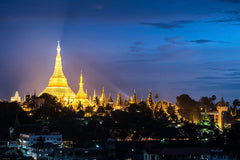 Travelbay Myanmar Tours - 10 Day Magical Myanmar Tour including 4 Night Cruise - Myanmar Private Tours - Shwedagon Pagoda at Night, Yangon