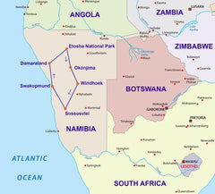 Travelbay Southern Africa Tours - Namibia - 10 Day Highlights of Namibia Private Tour - Map