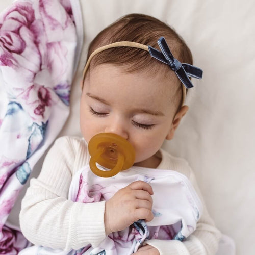 VELVET BABY BOW HEADBAND MOONLIGHT BLUE