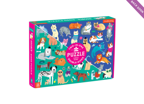 DOUBLE SIDED 100PC PUZZLE CATS AND DOGS