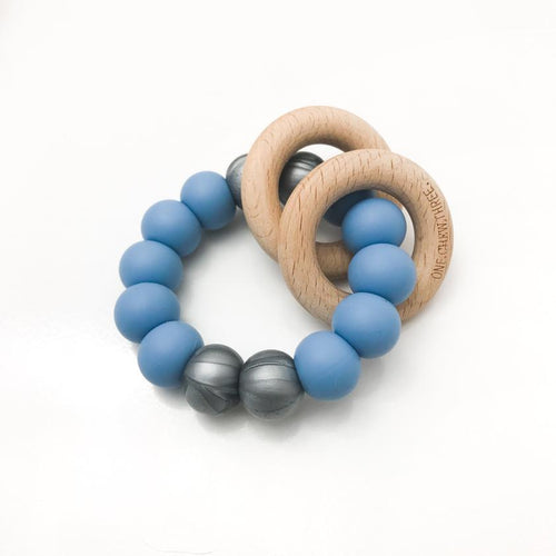 RATTLE SILICONE AND WOOD TEETHER BLUE/SILVER