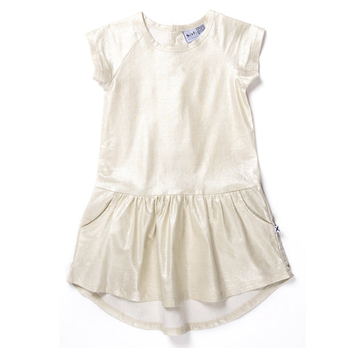 MINTI SHIMMER DRESS GOLD LINEN