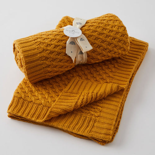 HONEY BASKET WEAVE KNIT BLANKET