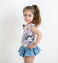 LITTLE HEARTS SS FRILL LEOTARD DUSTY ROSE