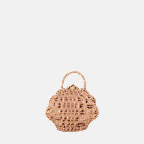 OLLI ELLA STRAW SHELL BAG ROSE PINK