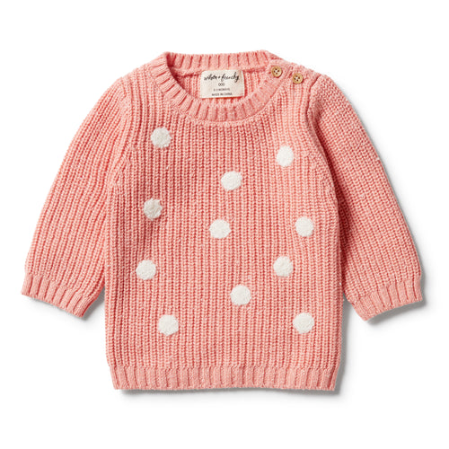 WILSON & FRENCHY KNITTED SPOT JUMPER FLAMINGO FLECK