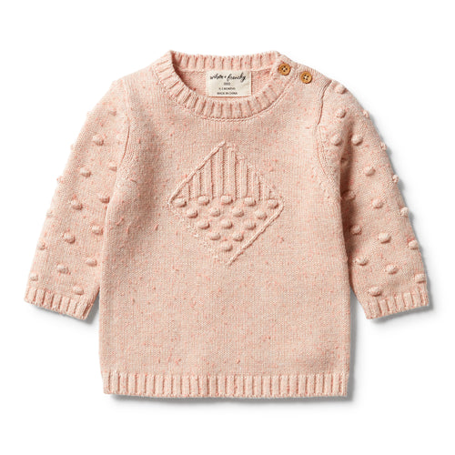 WILSON & FRENCHY JACQUARD SPOT JUMPER FLAMINGO OAT