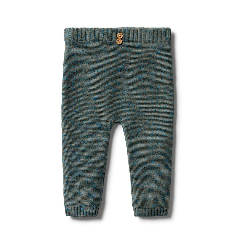 WILSON & FRENCHY KNITTED OTTOMAN LEGGING - DUSTY OLIVE FLECK