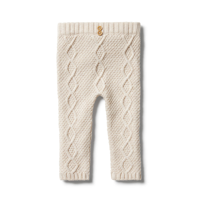 WILSON & FRENCHY KNITTED CABLE LEGGING OATMEAL MELANGE