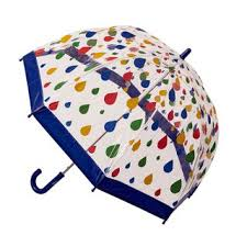 KIDS PRINT BIRDCAGE UMBRELLA RAINDROPS