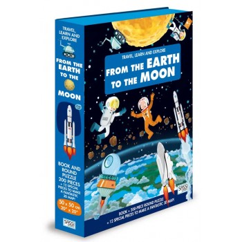 TRAVEL LEARN AND EXPLORE - BOOK AND 3D PUZZLE SET- EARTH TO MOON 200 PC
