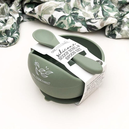 SILICONE SCOOP BOWL AND SPOON SET SAGE FOLIAGE