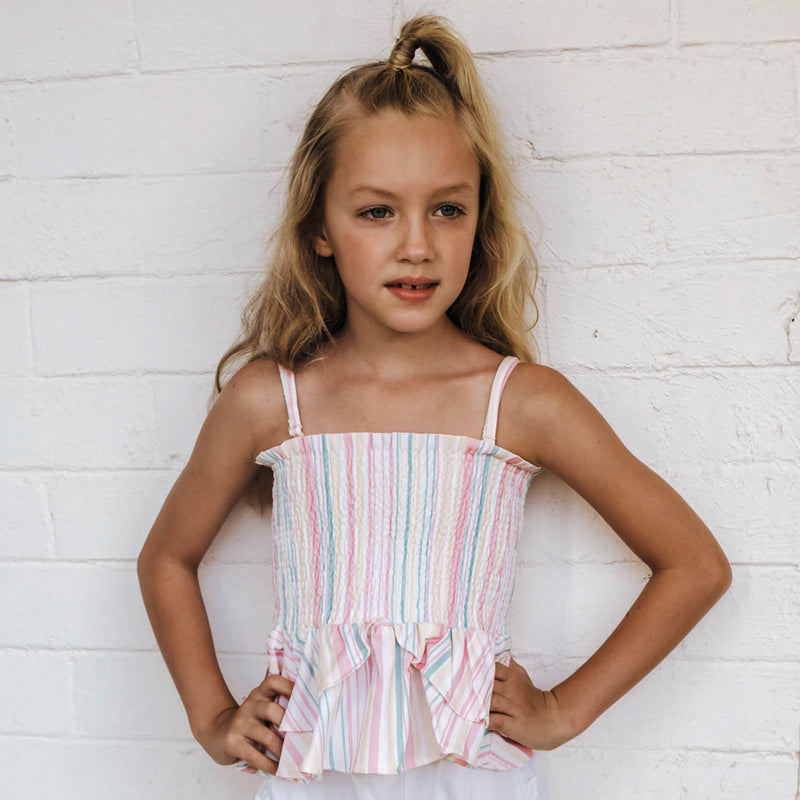 LITTLE HEARTS 2-IN-1 SHIRRED TOP/SKIRT STRIPE