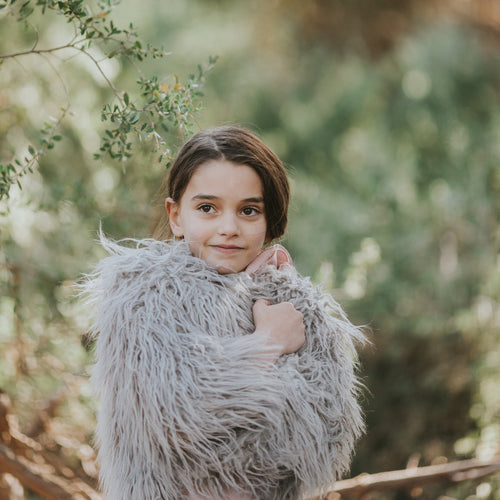 LITTLE HEARTS GREY SHAGGY FAUX FUR