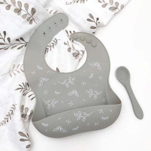SILICONE CATCH BIB AND SPOON SET - SILVER SAGE  limited Christmas edition