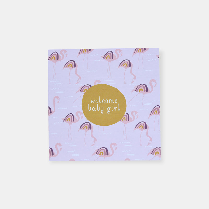 CARD BABY GIRL - FLAMINGO RAINBOWS