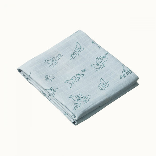 NATURE BABY MUSLIN WRAP POND PRINT