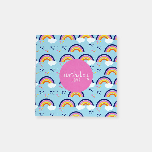 CARD BIRTHDAY - RAINBOW LOVE HEARTS