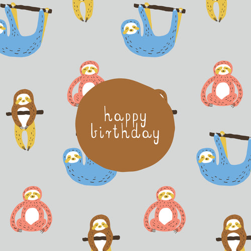 CARD BIRTHDAY - SLOTH PARTY