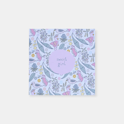 CARD BABY GIRL - AUSTRALIAN FLORAL AND BIRDS