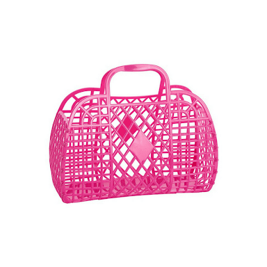 SUN JELLIES RETRO BASKET HOT PINK (LARGE)
