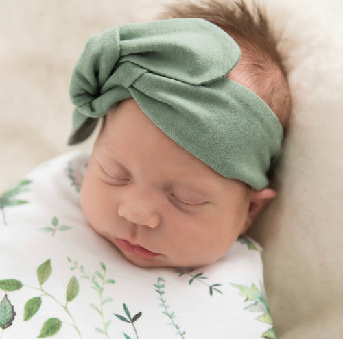 BABY TOPNKNOT HEADBAND SAGE