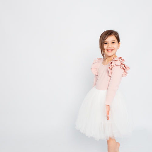 LITTLE HEARTS LUXE TUTU SKIRT WHITE