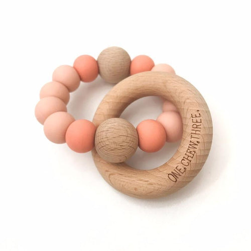 RATTLE SILICONE AND WOOD TEETHER PEACHES & CREAM