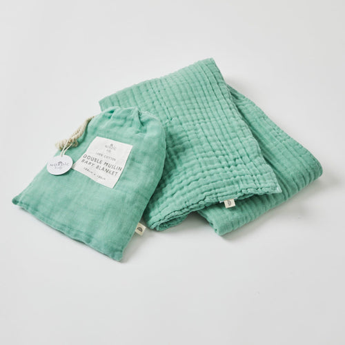 DOUBLE MUSLIN BLANKET FOREST GREEN