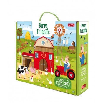 30 PIECE GIANT PUZZLE AND BOOK - FARM FRIENDS