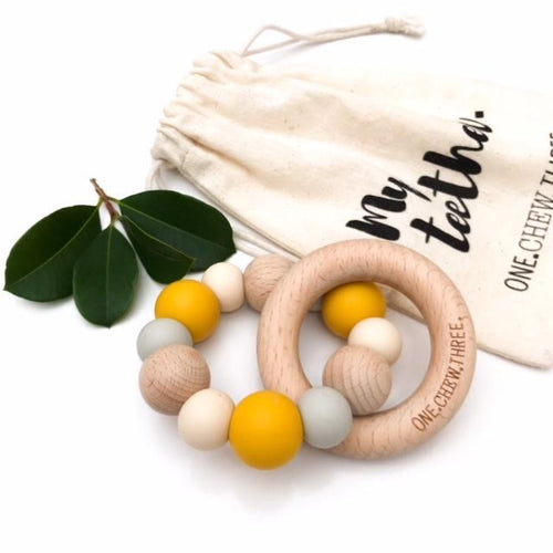 NATURALS SILICONE AND BEECH WOOD TEETHER MUSTARD