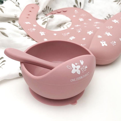 SILICONE SCOOP BOWL AND SPOON SET FLORAL ROSE