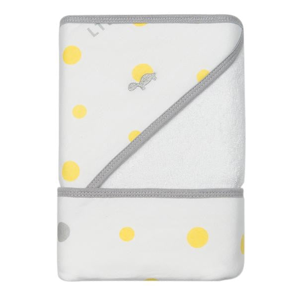 HOODED TOWEL- YELLOW & GREY SPOTS