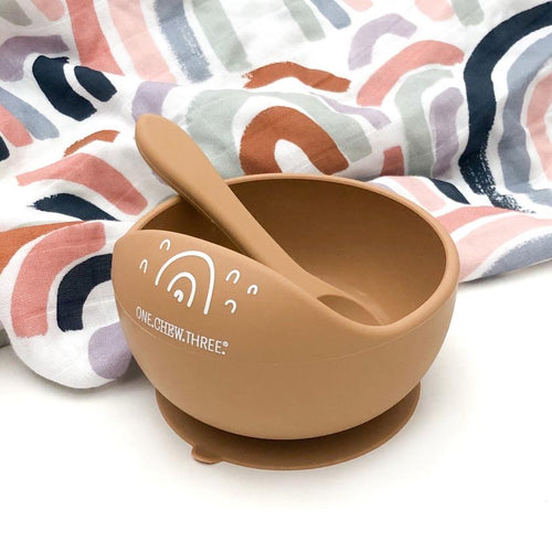 SILICONE SCOOP BOWL AND SPOON SET CARAMEL RAINBOWS